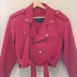 Wilson's Cherry Red Leather Biker Jacket size L